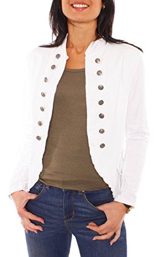 Damen Vintage Uniform Military Admiral Style Sweat Jersey Blazer Sakko Jacke Kurz Knopfleiste Offen Einfarbig Weiß M 38 (L)