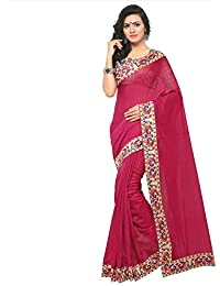 Kimisha Women's Chanderi Printed Lace Border Magenta Plain Saree With Blouse Piece (With Printed Blouse Piece)