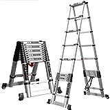 MEI XU Scala telescopica - scaletta di ingegneria famiglia portatile pieghevole addensamento scala multifunzione interna scala in alluminio Piega la scala retrattile portatile