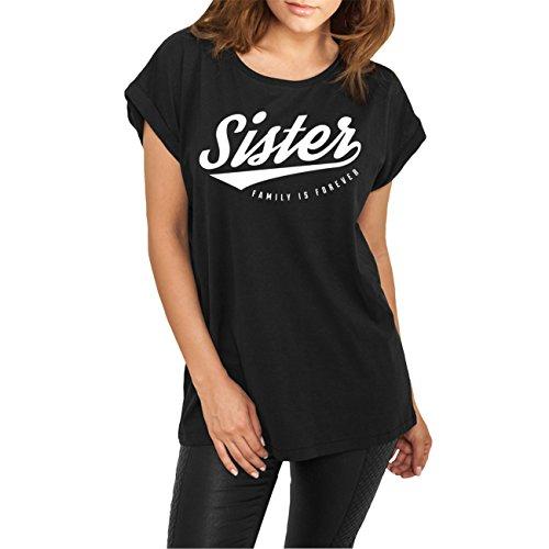 Frauen und Damen lässiges Tshirt Sister (mit Rückendruck)