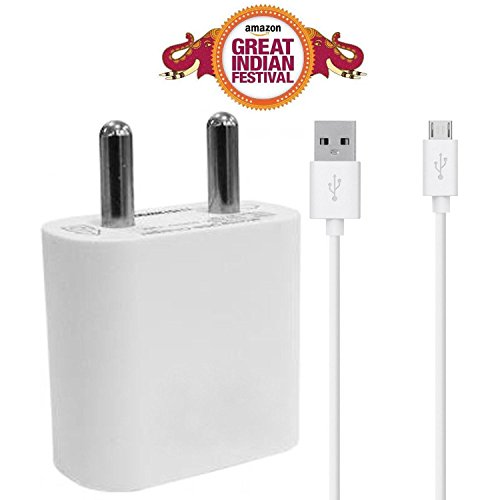 ShopMagics 2 Amp Mobile Charger for Alcatel Pop C9 Charger With 1 Meter USB Data Cable (White)