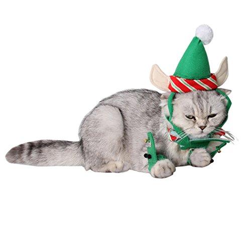 Disfraces de Navidad de Gato, Legendog 3 Piezas de Navidad Traje de Gatito Sombrero Cuello Leg Garters Pet Disfraces para Gato
