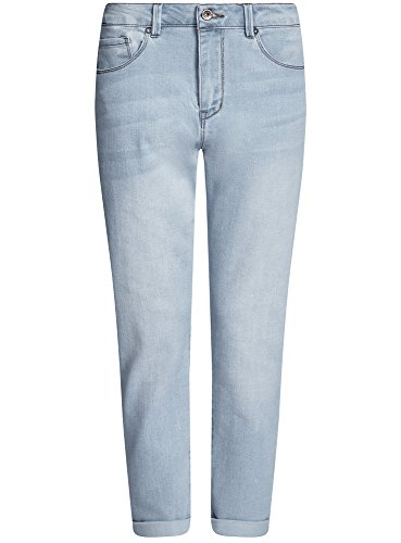 oodji Ultra Damen Boyfriend-Jeans mit Regulärem Bund Blau (7000W)