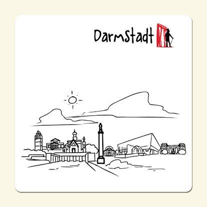 Untersetzer 'Skyline Darmstadt' (weiß) - als Geschenk für Darmstadter & Fans der Stadt des...