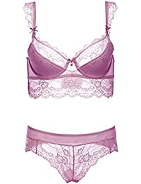 504a026918c13 Insun Women s Sexy Lace Lingerie Push Up Underwire Bra and Underwear Set