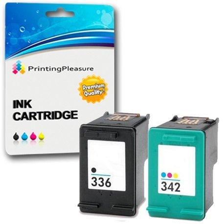 Printing pleasure 2 compatibili hp 336 & hp 342 cartucce d'inchiostro sostituzione per deskjet 5420 5432 officejet 6310 6315 photosmart 2570 2575 2710 c3100 c3180 c4180 - nero/colore, alta capacità