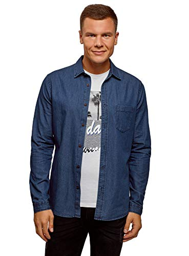 Oodji ultra uomo camicia in jeans con taschino, blu, it 50-52 / eu 52-54 / l