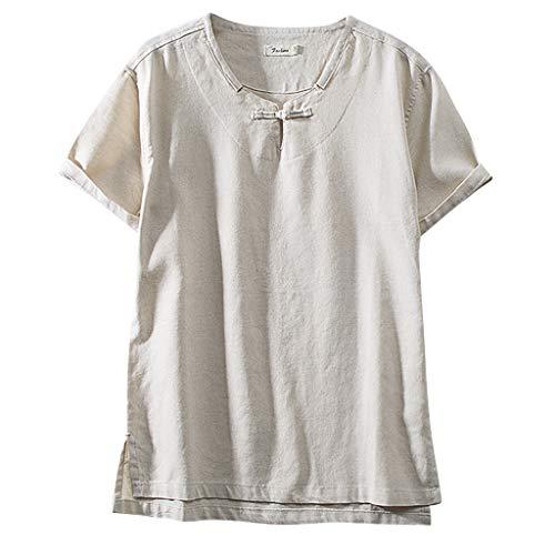 Herren Leinenhemd leinen T-Shirt Kurzarmshirt Männer Sommer Hemd Casual Regular Fit Oberteile Beiläufige Atmungsaktiv Tee -
