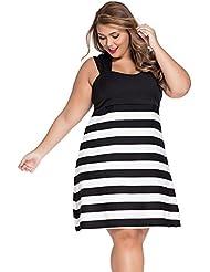 yueyue & FA Negra y Blanca bloque de rayas de grande Chica de patines Camino de vestido, color negro, tamaño XXXL