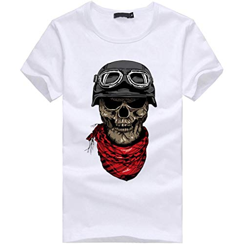 MRULIC Herren Männer Druck Tees Shirt Kurzarm T Shirt Tops(I-Weiß,EU-48/CN-XL)