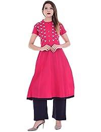 RAJMANDIRFABRICS Women's Cotton Pink A-line Embroidered Kurti With Solid Blue Palazzo