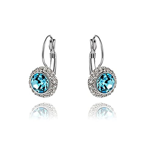 YEAHJOY Bling Jewellery Women's Patinum Plated Round Cut Blue Rhinestones Circle Shape Hoop Earrings