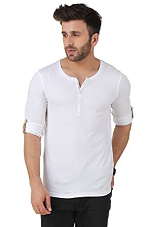 GESPO Men's Solids Cotton Regular Fit Henleys Neck Long Sleeves T-Shirt (White, Small)