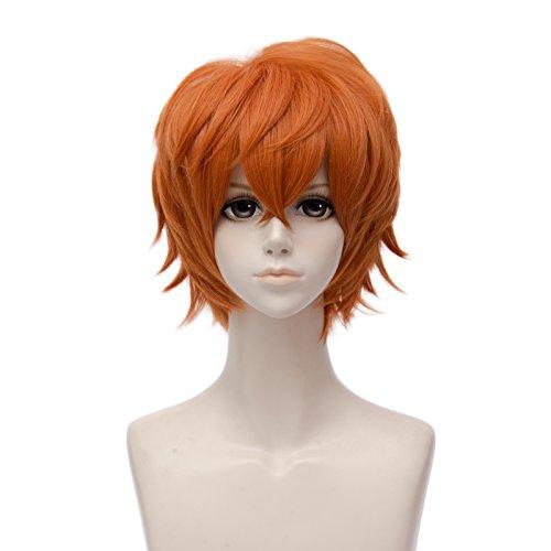 Cosplay Anime Perücke Orange Mufly Synthetisches Kunsthaar Kurz Gelockt Wellige Perücke Lockenperücke mit Pony Cosplay Kostüm Karneval Anime Manga (Person Einfach 3 Kostüme)