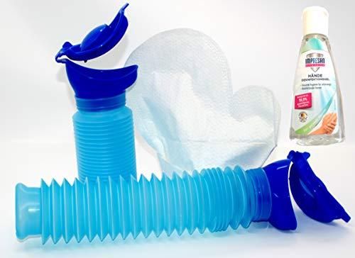 Mobiltoilette Uriwell mit 12 Stück Feuchthandschuhe und 50ml Desinfektionsgel