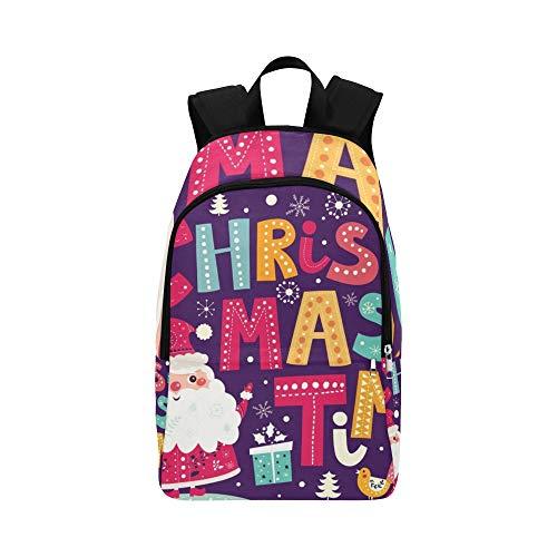 Weihnachtsvektor-Postkarte Weihnachtsmann-Geschenke beiläufige Daypack-Reisetasche College-Schulrucksack für Männer und Frauen (Weihnachtsmann Postkarten)