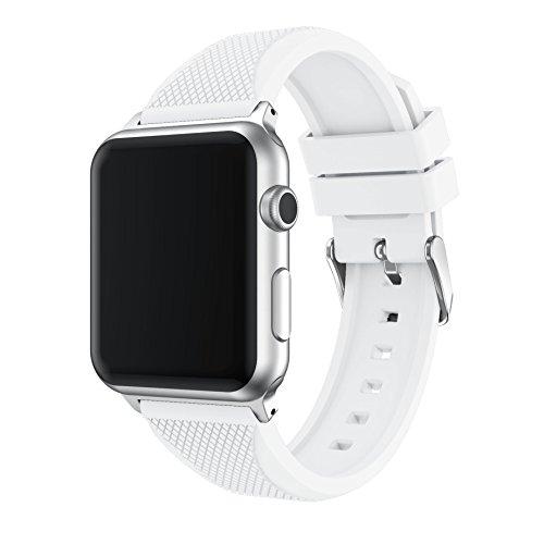 Topsic cinturino per apple watch 42mm series 3 / 2 / 1, morbido braccialetto di ricambio in silicone con connettore per apple watch 42mm di series 1 2015 & series 2 2016 & series 3 2017 & sportiva, edizione