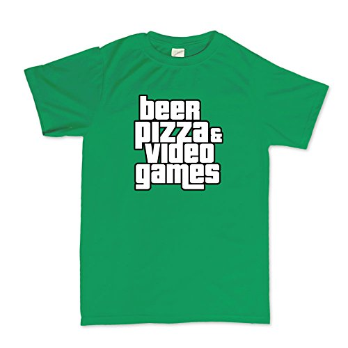 Beer Pizza And Video Games Funny Gaming T-shirt HellgrŸn