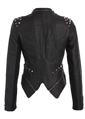 Rockige schwarze PU Kunstleder Moto Jacke mit Nieten Spikes Schwarz