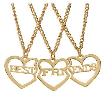 TBOP Necklace The Best of Planet Simple and Stylish Jewelry Best Friends Good Friend Three-Piece Pendant Girlfriends Pendant Heart-Shaped Necklace in Gold Color