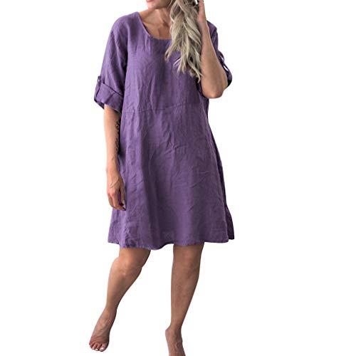 Langes Damenkleid, langes, lässiges kurzärmliges Kleid mit Rundhalsausschnitt, halblange Ärmel, lockerer Pullover, T-Shirt, Baggy, Tunika, Tops, Übergröße, Urlaub, Freizeit, violett, Medium