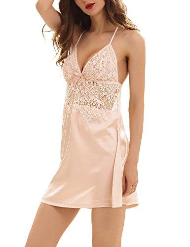Yulee Damen Nachthemd Reizvolles Ausgehöltes Schlafanzug Nachtkleid Pink