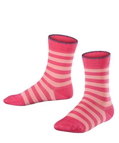 FALKE Kinder Socken Double Stripe, 81% Baumwolle, 1 Paar, Rosa (Gloss 8550), Größe: 35-38