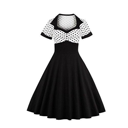 ZAFUL Robe Fashion Vintage Impression Polka Pois Robe Femmes Rétro Style Col De Cœur Manches Courtes Longueur Genou Robe Large Élégante Noir Blanc S-4XL