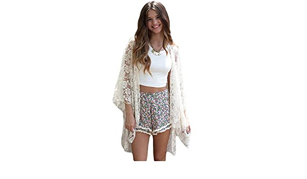 bba77280381 MASHIKOU Women s Casual Lace Kimono Tunic Bikini Cover Up Oversize  Beachwear Beach Dresses (one Size