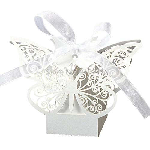 PONATIA 50pcs Farfalla Wedding Baby Cutout Candy Box Favors Gift Box Pearlescent (bianco)