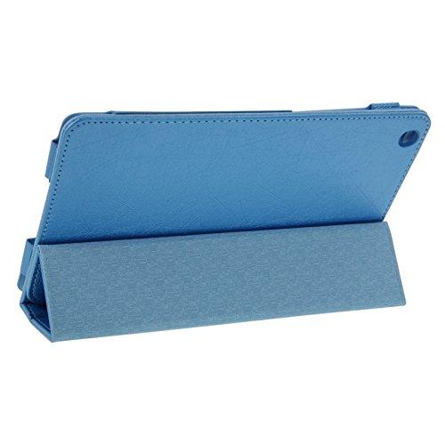 HQ's perfect store Fein Drahtförmiger magnetischer horizontaler Flip dreifachgefalteter Halterung für Lenovo IdeaTab A8-50 / A5500 Einzigartig (Farbe : Blau)