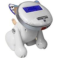 Acctin Perrito Tiempo de Voz Despertador Luminoso Calendario Perpetuo Alarm Clock en Movimiento, White