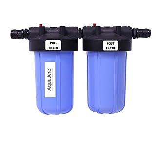 Aquatiere Doppel-Wasserfilter für große Haushalte mit Kohlenstoff- und Sediment-Filter, Blau