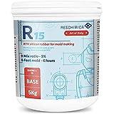 Siliconen gietrubber voor Siliconenmallen R 15. Snelle uitharding bij kamertemperatuur. Ideaal voor het maken van matige zach