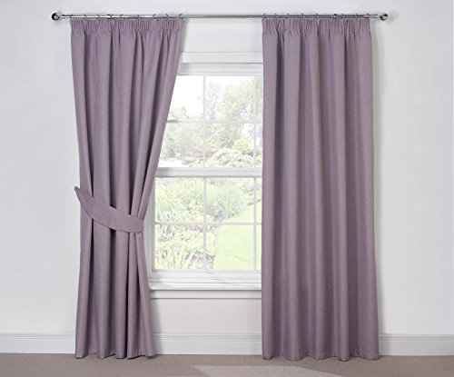 Julian Charles Luna Thermal Coated Pencil Pleat Curtains, Mauve, 90 x 54-Inch