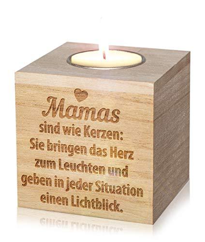 GRAVURZEILE Holz Teelichthalter für Mama aus Rohholz - Geschenk für Mama - Muttertagsgeschenk - Geschenk zum Muttertag - Würfel: 8 x 8 cm - Mamas sind wie Kerzen -