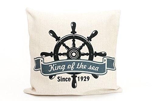 Kissenbezug Theo 40x40cm Kissenhülle maritim King of the Sea 1929 Steuerrad Sommer Leinen Leinenoptik Dekokissen