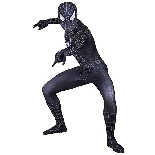 RNGNBKLS Erwachsene Kinder Schwarz Spiderman Kostüm Halloween Cosplay Maskerade Karneval Spiderman Anzug 3D Print Spandex Klassische Spiderman Verkleidung,Adult-M (Kostüm Schwarzes Spiderman Erwachsene)