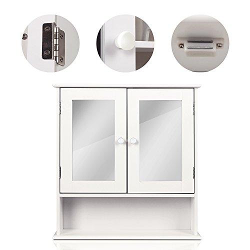 HOMFA Landhaus Spiegelschrank Hängeschrank mit 2 Spiegeltür Wandschrank Badschrank Küchenschrank Medizinschrank Wandboard Regal Weiß 56x13x58cm (Spiegelschrank Weiß) - 3