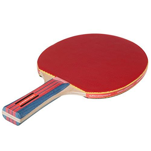 Ultrasport Tischtennisschläger rot/schwarz, Ping Pong Schläger mit Naturkautschuk, ca. 1,9 mm dicker Belag, für den Verein oder privat für Familie und Freunde