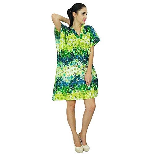 Bimba femmes Bohême coton Kaftan Robe imprimée court indienne Caftan Taille  Plus vêtements de plage Couleur ... 7dce061ad70
