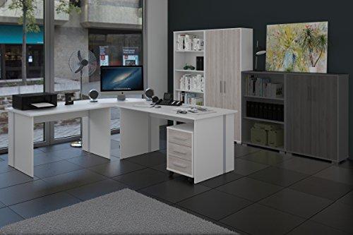 Arbeitszimmer 6-teiliges Büromöbelset Weiß mit Eiche-Sorrento Fronten