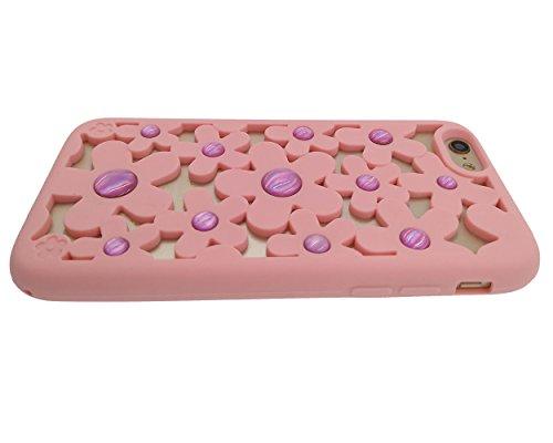 iPhone 6 / 6S Hülle, BENKER Hochwertig Schlagfeste und Kratzfeste Weich Silikon Kreativ 3D Cartoon Telefon Fall - Star Balloon Pink Hollow Flower