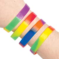 Baker Ross Rainbow Wrist Bands (Pack Of 10) For Kids Party Bag