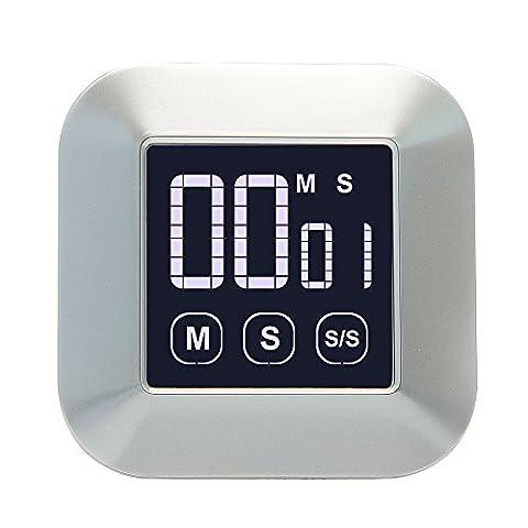 JTDEAL Minuteur de Cuisine, Minuterie Tactile, Compte à Rebours Alarme Alerte LED de Cuisine avec LCD Écran, Alarme Sonore, Support Aimanté et Support Rétractable Crochet pour Cuisine, Sports, etc