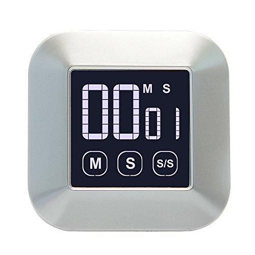 Jtdeal timer da cucina digitale magnetico, conto alla rovescia allarme timer allarme led con ampio display lcd touch screen e supporto pieghevole, per cucinare, sport, riposo e studio
