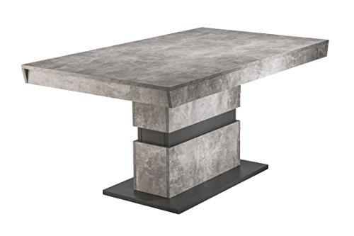 Homexperts Esszimmertisch MARLEY / moderner Küchentisch 140 cm mit fester Tischplatte / Auszugstisch in Light Atelier Beton Optik grau / 140 x 90 x 75cm (LxBxH)