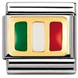 Nomination Composable Classic FLAGGE EUROPA Edelstahl, Email und 18K-Gold (ITALIEN) 030234