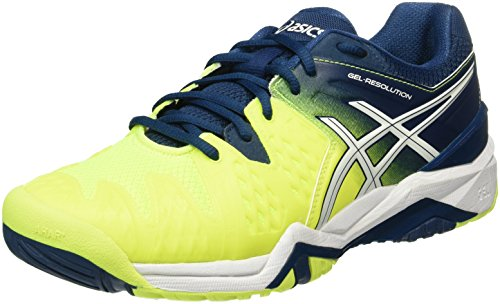 Asics Herren Gel-Resolution 6 Tennisschuhe, Mehrfarbig (Safety Yellow/White/Poseidon), 43.5 EU