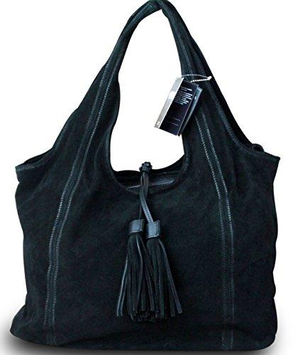 Fabriqué en italie et design sac shopping bag sac à main vintage pour femme en daim noir